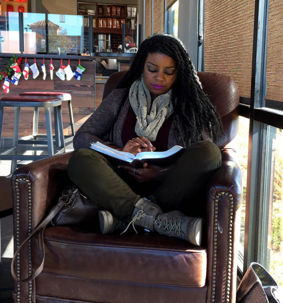 Painting - Reading In Starbucks by Floyd Snyder