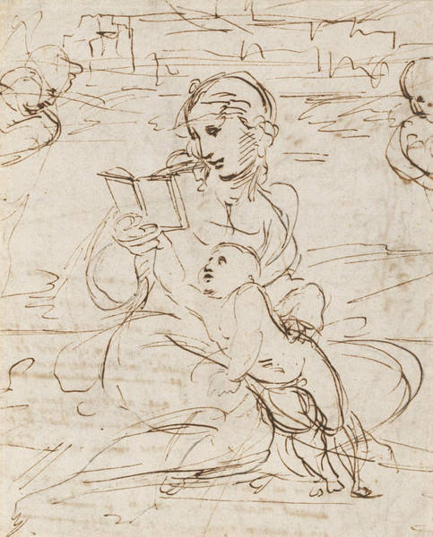 Madonna Drawing - Reading Madonna And Child In A Landscape Betweem Two Cherub Heads by Raphael