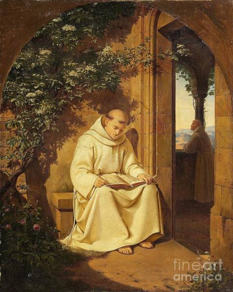 Painting - Reading Monk by Celestial Images