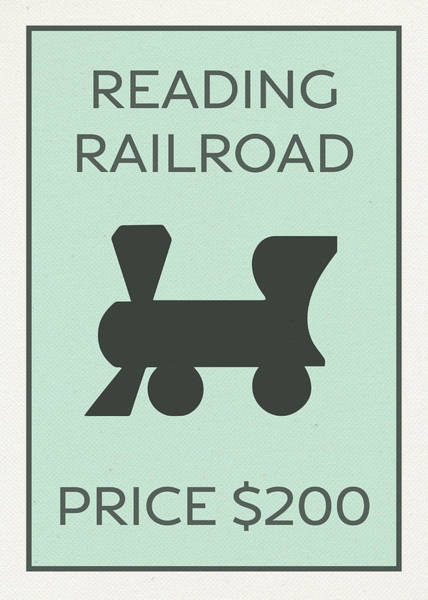 Reading Mixed Media - Reading Railroad Vintage Monopoly Board Game Theme Card by Design Turnpike