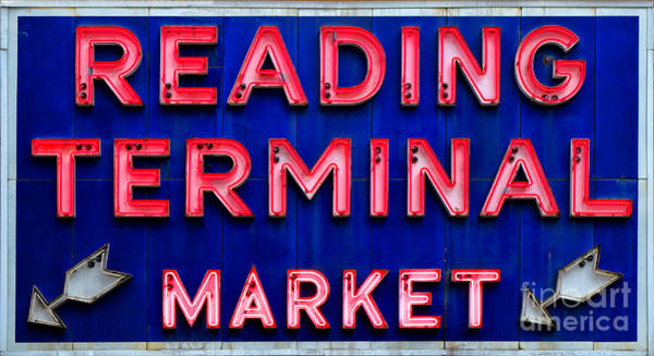 Vintage Neon Sign Photograph - Reading Terminal Market by Olivier Le Queinec