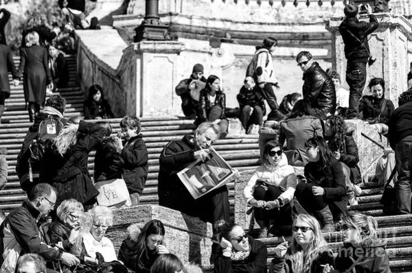 Photograph - Reading The Paper On The Spanish Steps Rome by John Rizzuto