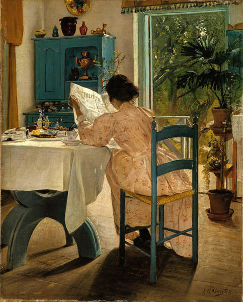 Laurits Andersen Ring Painting - Reading The Papers At Breakfast by Laurits Andersen Ring