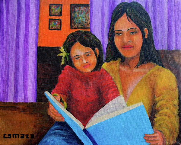 Painting - Reading With Mom by Cyril Maza