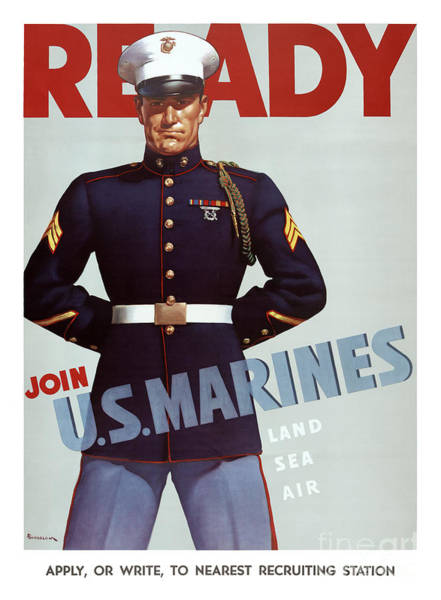 Wall Art - Painting - Ready Join U.s. Marines Vintage Military Poster by Vintage Treasure