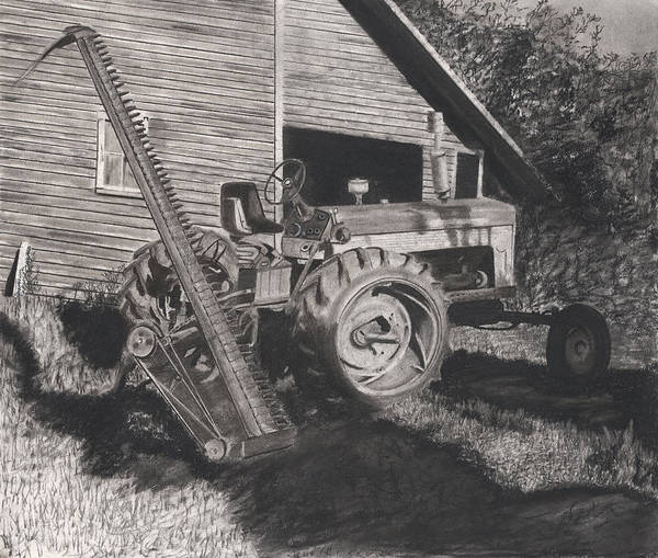 Old Tractor Drawing - Ready To Mow by Bryan Baumeister