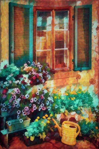 Photograph - Ready To Water The Garden Oil Painting by Debra and Dave Vanderlaan
