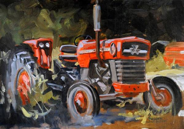 Vintage Tractor Painting - Ready To Work by Spencer Meagher