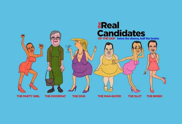 Election 2016 Painting - Real Candidates Of The Gop -clear Background Version 2 by Sean Corcoran