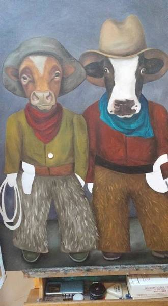Painting - Real Cowboys Work In Progress by Leah Saulnier The Painting Maniac
