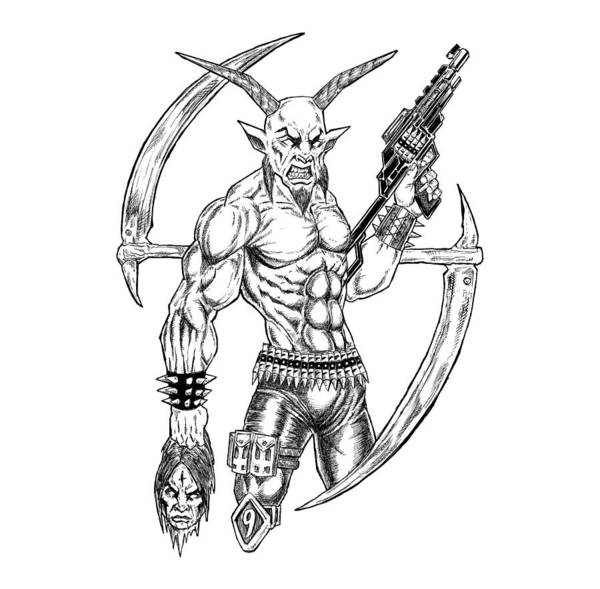 Demonic Drawing - Reaper White by Alaric Barca
