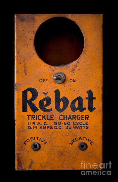 Wall Art - Photograph - Rebat Vintage Automotive Battery Trickle Charger by Edward Fielding