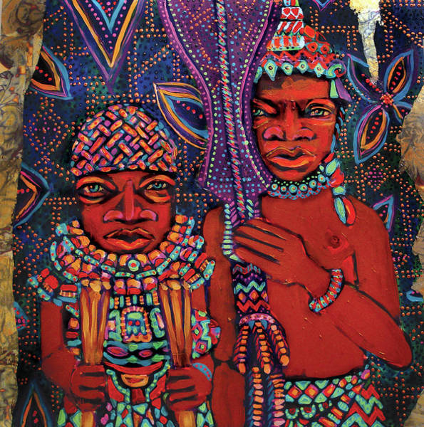 Mixed Media - reCalling the Spirit Attendants with Paddles by Cora Marshall