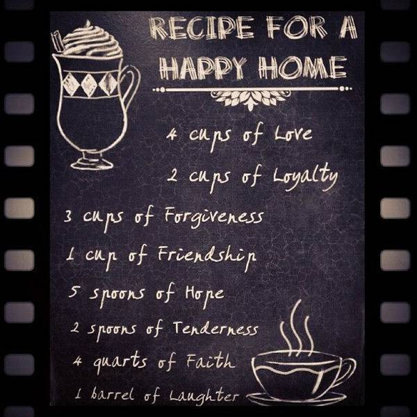 Home Wall Art - Photograph - Recipe For A Happy Home #recipe #happy by Fotochoice Photography