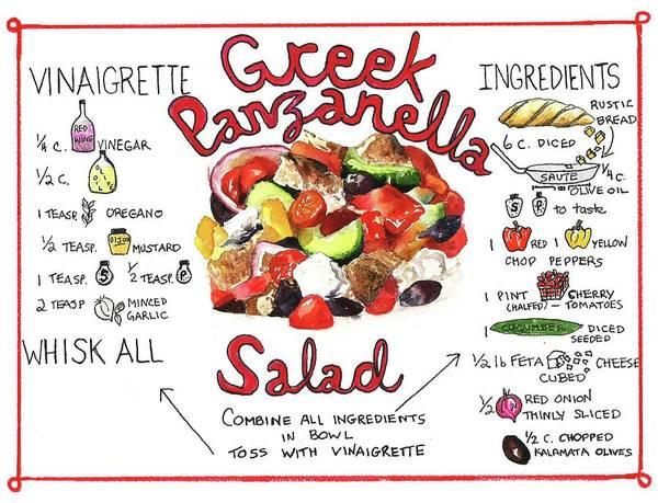 Painting - Recipe- Panzanella Salad by Diane Fujimoto