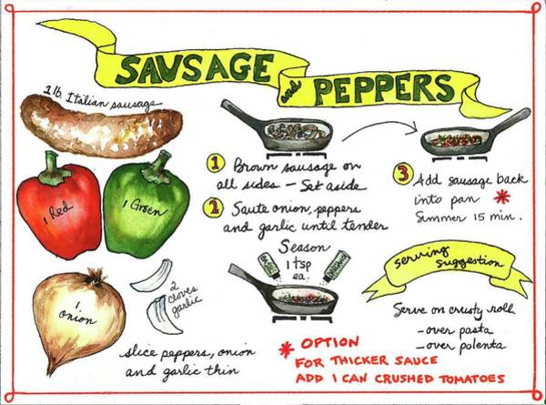 Painting - Recipe Sausage And Peppers by Diane Fujimoto