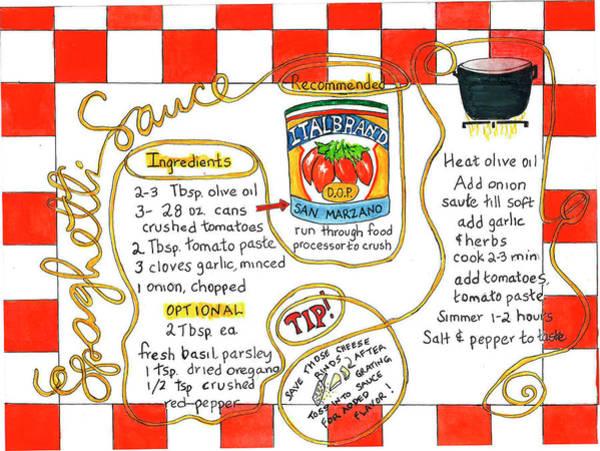 Painting - Recipe -spaghetti Sauce  by Diane Fujimoto