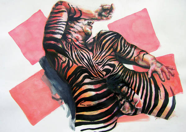 Painting - Reclined Striped And Symbolic  by Rene Capone