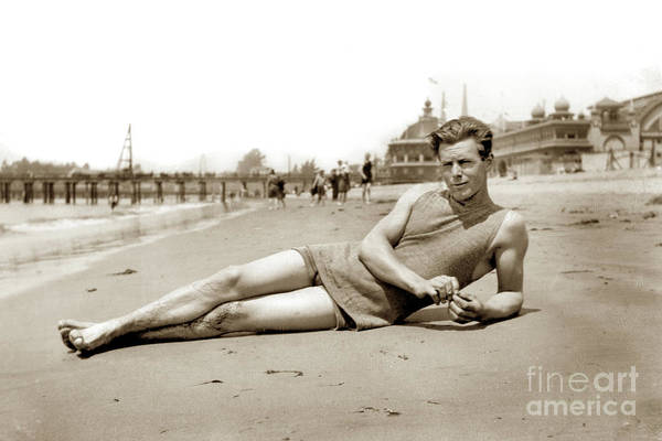 Photograph - Reclining Bather In The Water's Edge On The Beach At Santa Cruz by California Views Archives Mr Pat Hathaway Archives