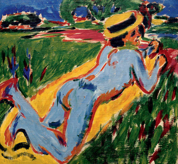 Painting - Reclining Blue Nude With Straw Hat by Ernst Ludwig Kirchner