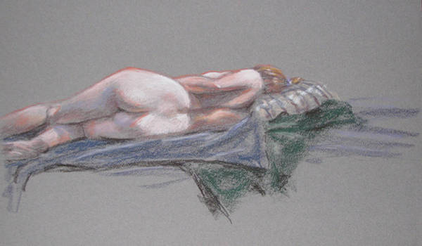 Painting - Reclining Female Back by Christopher Reid