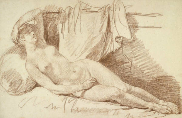 Jeans Drawing - Reclining Female Nude- Study For Aegina Visited By Jupiter by Jean-Baptiste Greuze