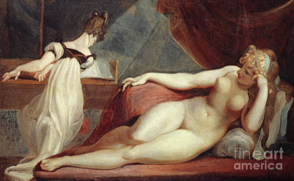 Piano Key Painting - Reclining Nude And Woman At The Piano by Henry Fuseli
