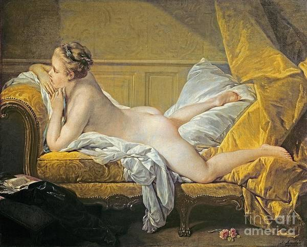 Francois Boucher Painting - Reclining Nude by Francois Boucher