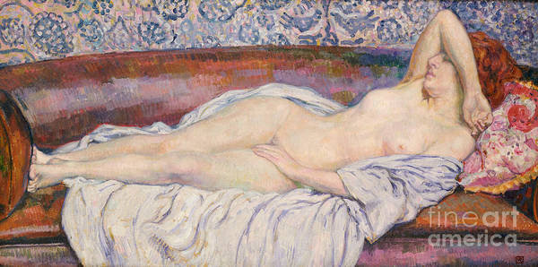 Dreamer Wall Art - Painting - Reclining Nude  by Theo van Rysselberghe