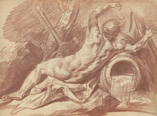 Jeans Drawing - Reclining River God by Jean-Baptiste Greuze