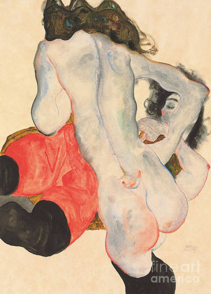 Nudity Painting - Reclining Woman In Red Trousers And Standing Female Nude by Egon Schiele