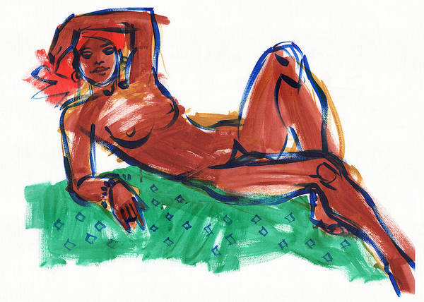 Painting - Reclining Woman With Red Head Scarf by Judith Kunzle
