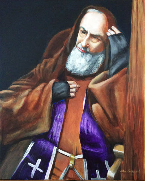 Padre Pio Wall Art - Painting - Reconciliation by John Genuard