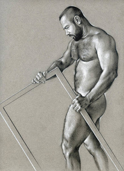 Male Nude Drawing - Rectangle 2 by Chris Lopez