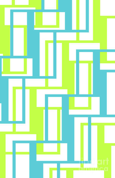 Diagonal Digital Art - Rectangle Boxes by Louisa Knight