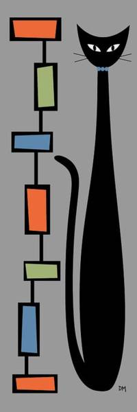 Digital Art - Rectangle Cat On Gray by Donna Mibus
