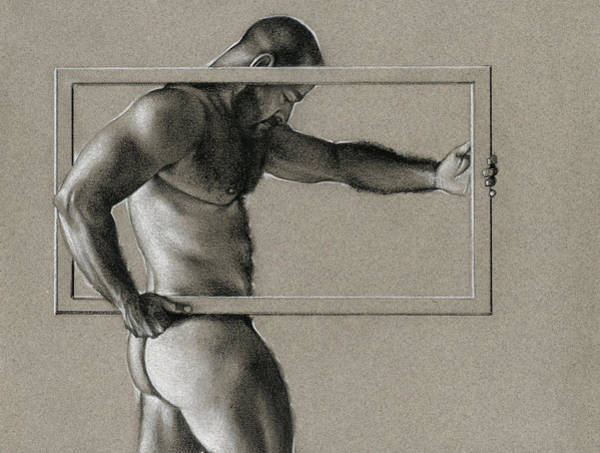 Male Nude Drawing - Rectangle by Chris Lopez