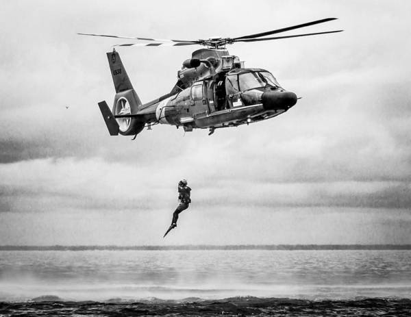 Photograph - Recue Swimmer Free Fall by Gregory Daley  MPSA