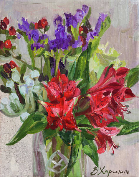 Wall Art - Painting - Red Alstroemeria by Victoria Kharchenko