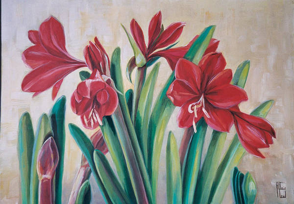 Amaryllis Painting - Red Amaryllis by Altair Leal