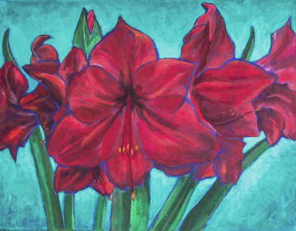 Red Amaryllis Painting - Red Amaryllis by Tara D Kemp