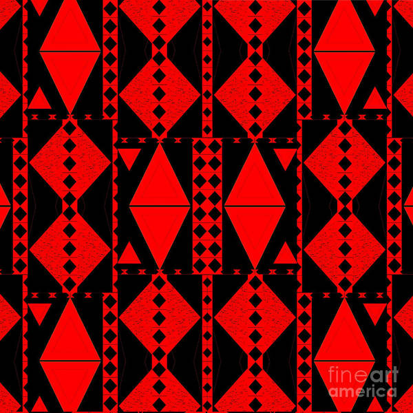 Digital Art - Red And Black Diamonds by Helena Tiainen