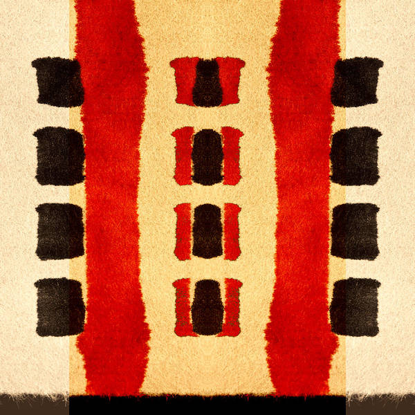 African Tribal Digital Art - Red And Black Panel Number 3 by Carol Leigh