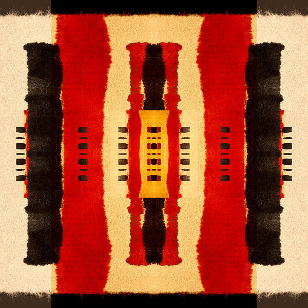 African Tribal Digital Art - Red And Black Panel Number 4 by Carol Leigh