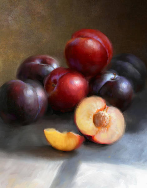 Still-life Painting - Red And Black Plums by Robert Papp