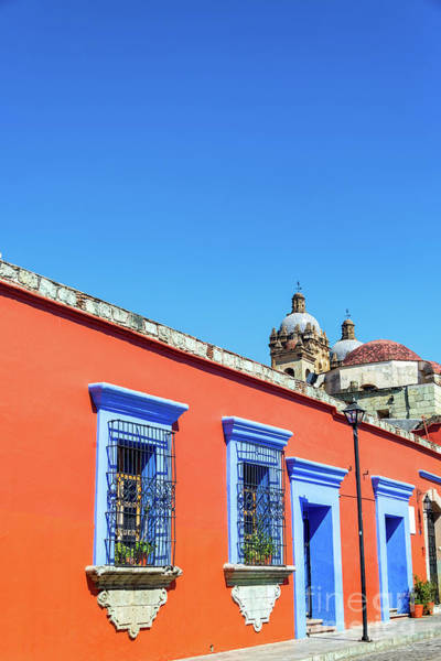 Wall Art - Photograph - Red And Blue Colonial Architecture by Jess Kraft