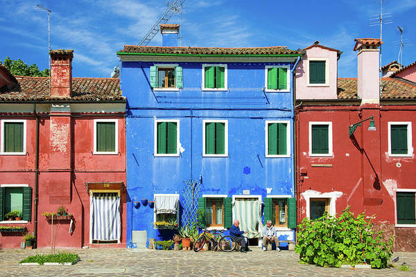 Photograph - Red And Blue Houses In Burano Venice Italy by Matthias Hauser