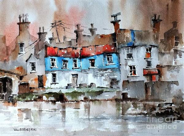 Painting - F 743  Red And Blue In Ennistymom, Clare.... by Val Byrne