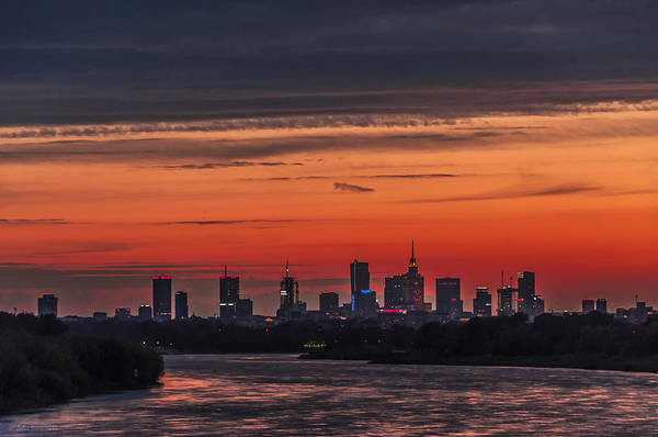Photograph - Red And Blue Sky Over Warsaw by Julis Simo