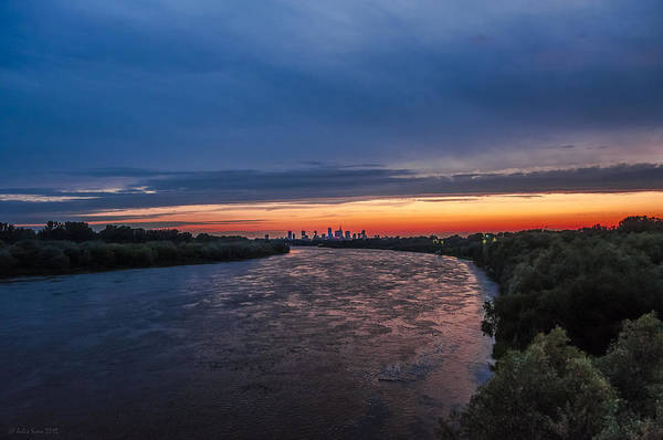 Digital Art - Red And Blue Warsaw Skyline by Julis Simo